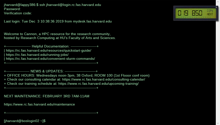 An image showing a terminal window logging into login.rc.fas.harvard.edu. The user enters password and openauth code (java openauth token generator shown overlaid on terminal window)