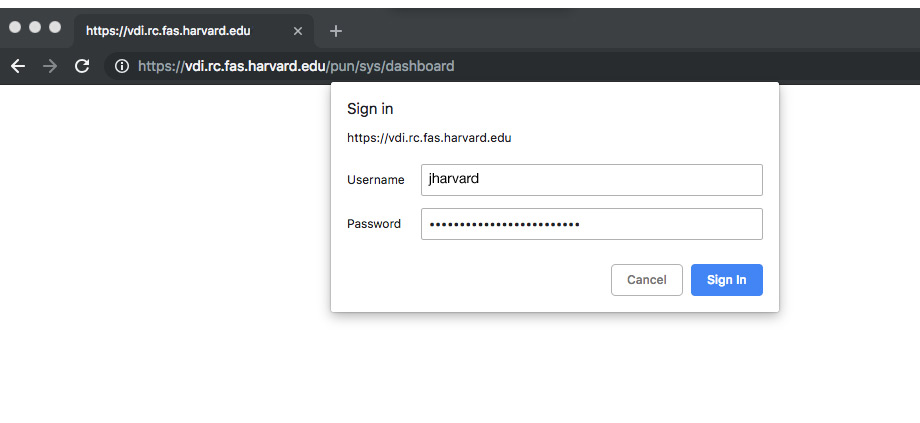 authentication box to VDI ondemand showing username and password