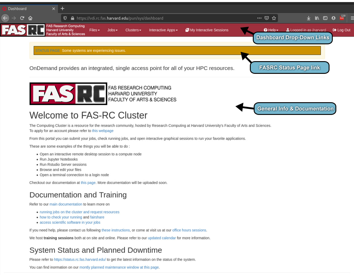 front page of VDI - dashboard bar, status page link, docs and info